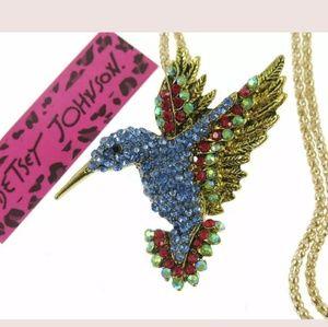 New Betesy Johnson blue hummingbird necklace